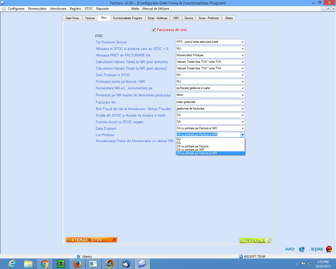 configurare program gestiune stocuri