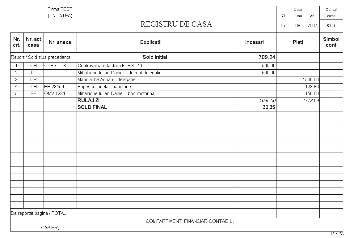 Program registru de casa