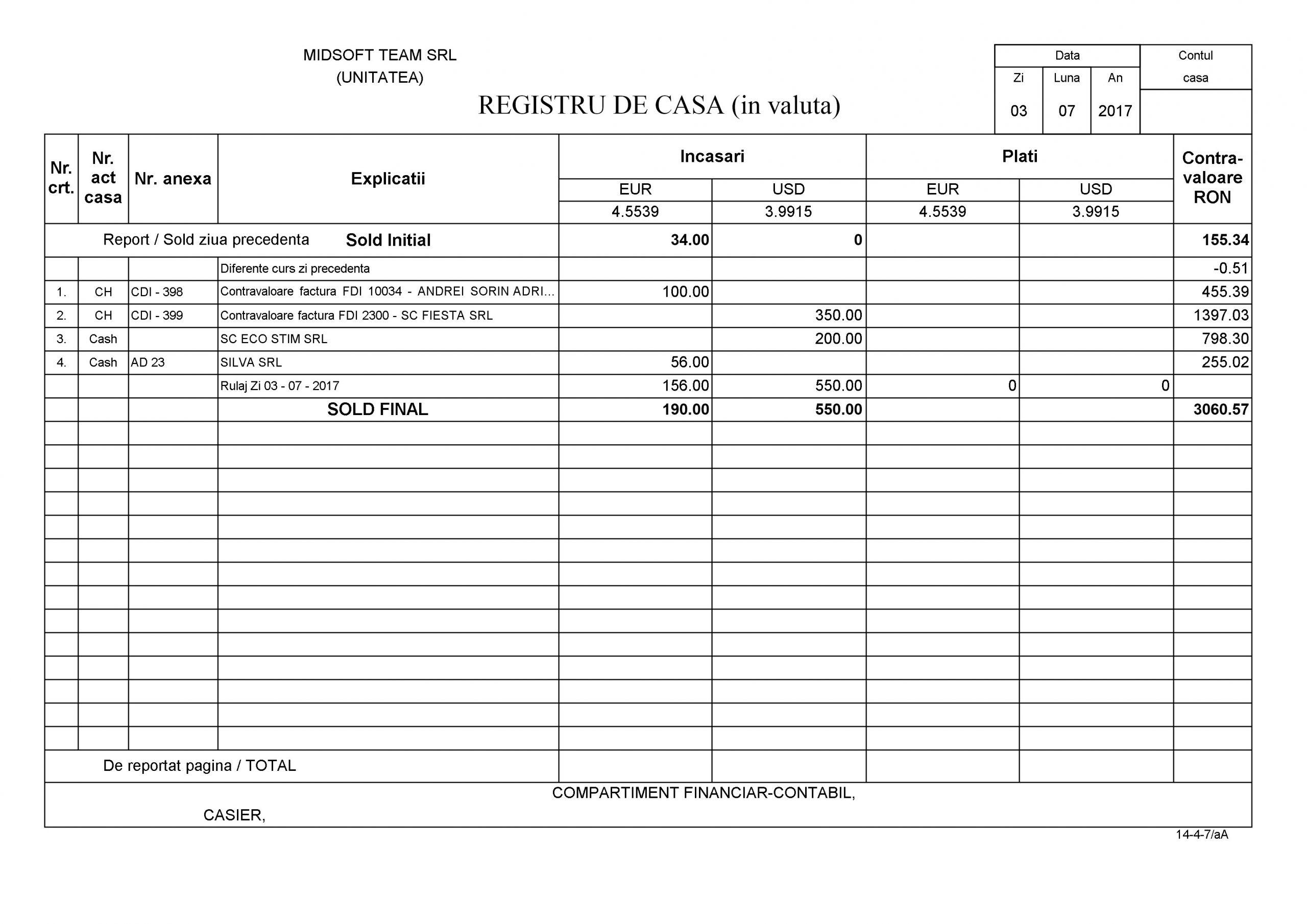 Registrul de casă în valută